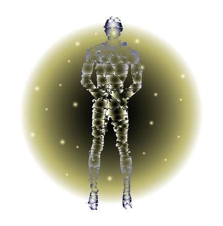 simulations: humanoid figure on abstract background Illustration