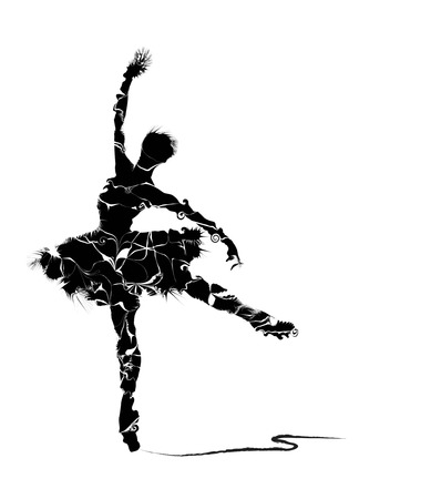 simulations: abstract dancer silhouette on white background