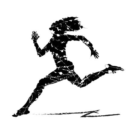 ludo: Abstract illustration of woman running Illustration