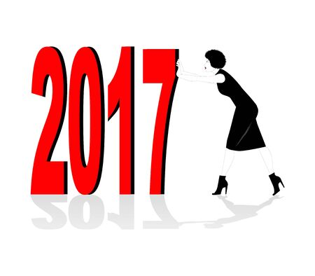 shove: silhouette of woman pushing the new year