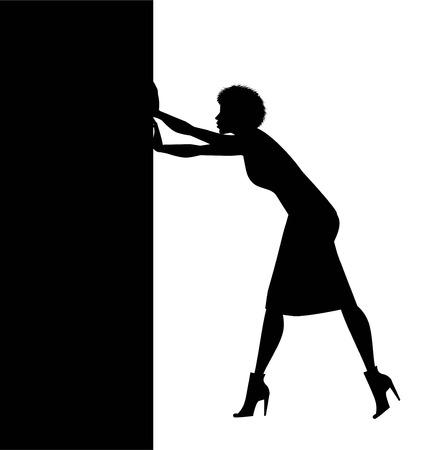 silhouette di donna che spinge una barriera Vettoriali