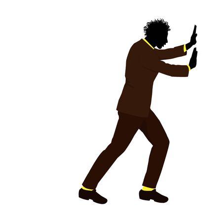 vector illustration of man pushing Illustration