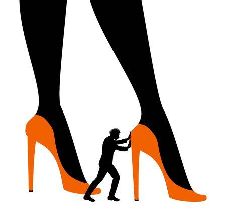 man pushing big womans legs