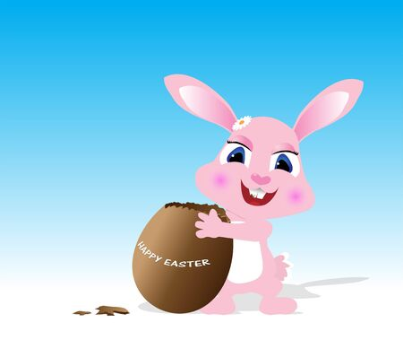 chocolate egg: Easter greeting card with rabbit and chocolate egg Illustration