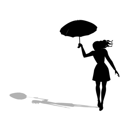 illustration of woman with umbrella walking