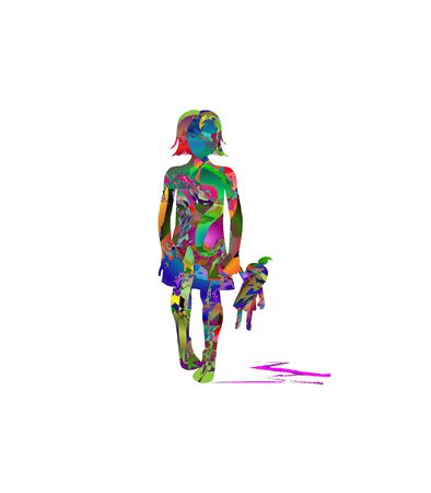 Abstract silhouette of little girl with a doll Illustration