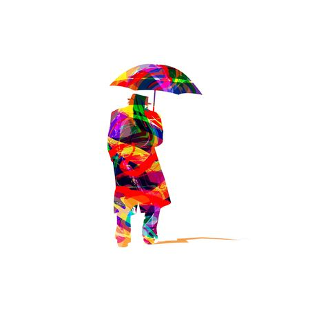 Man with umbrella Illustration
