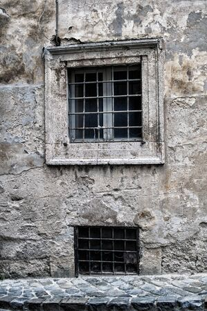 Old window of an abandoned house Stock Photo