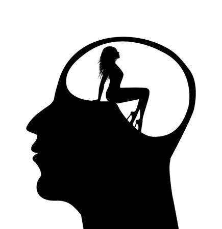 symbolic illustration of a woman in a mans head
