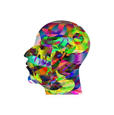 calvicie: Perfil de una cabeza masculina compuesta de colores Vectores