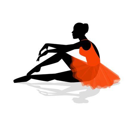 ballerina silhouette resting Illustration