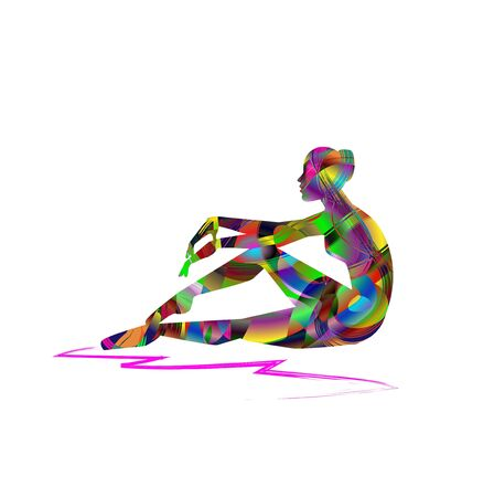 abstract silhouette of woman sitting