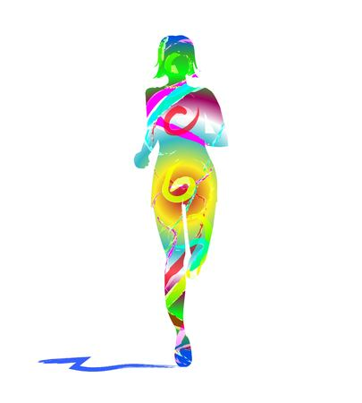 Colorful silhouette of woman running