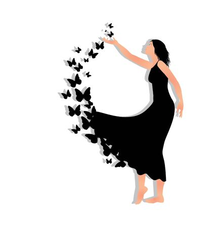 vector illustration of girl with butterflies