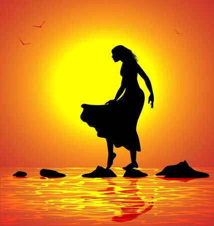 girl walking on the rocks by the sea at sunset Illustration