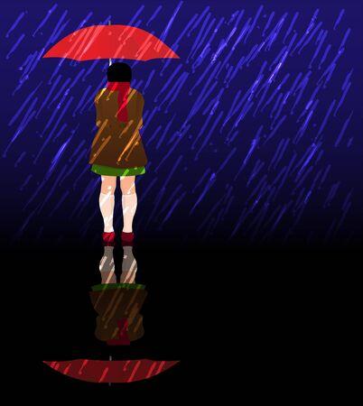 Niña con paraguas rojo en una tormenta Foto de archivo - 77539536
