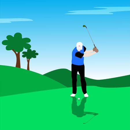 Vector illustration of golf athlete Çizim