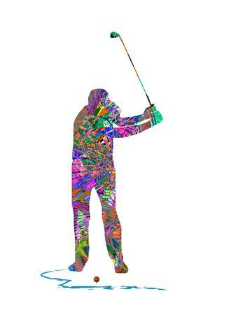ゴルフ選手のベクトル イラスト