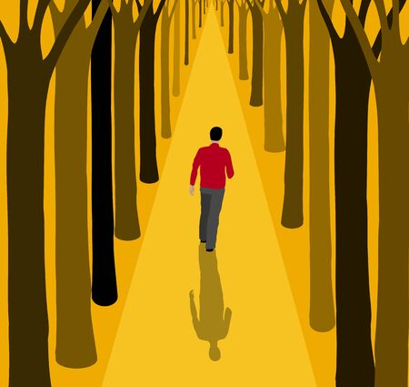 Man walking alone on a path between the trees.