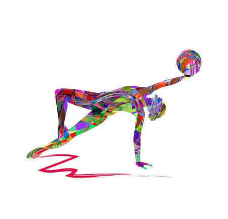 Vector illustration of girl practicing rhythmic gymnastics with the ball