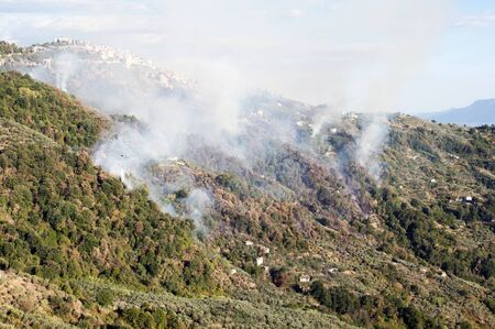 fire on the mountains below the village of Bellegra in lazio