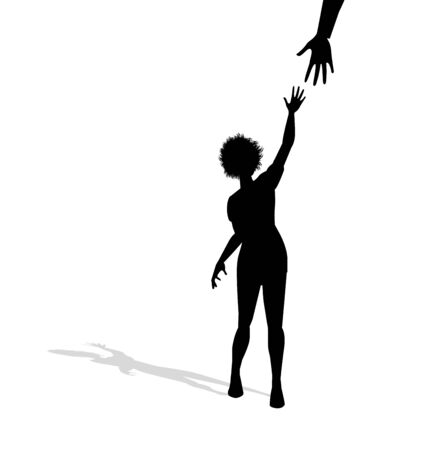 symbolic illustration of woman trying to grab a hand
