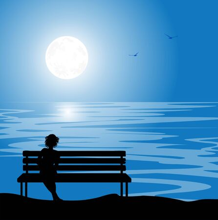woman silhouette on bench in the night with full moon Ilustracja