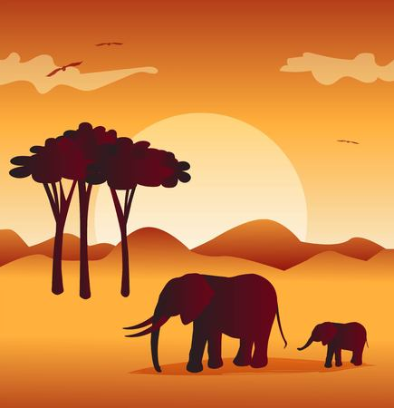 Visual drawing silhouette of elephants with wild and sunset background.