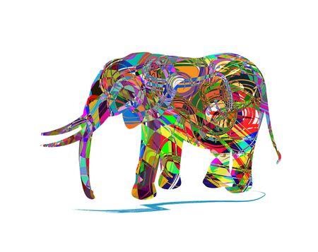 calendar design: Illustration of elephant isolated on white background. Illustration
