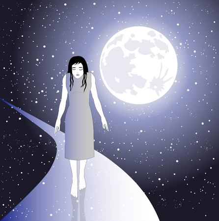 alone woman walks in the space between moon and stars