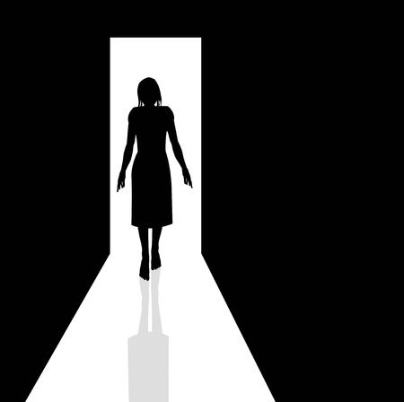 vector illustration of woman silhouette in the dark