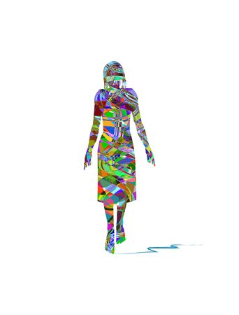 vector illustration of woman made up of colors