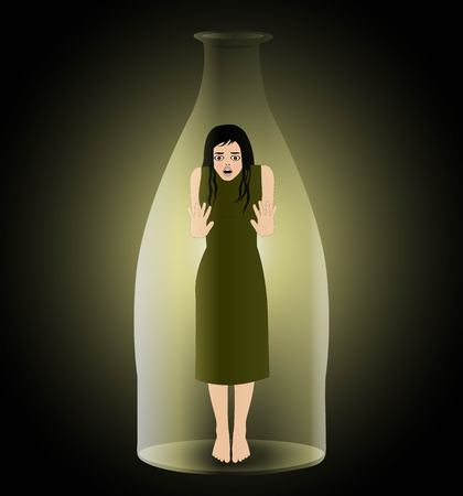symbolic vector illustration of imprisoned woman in a bottle