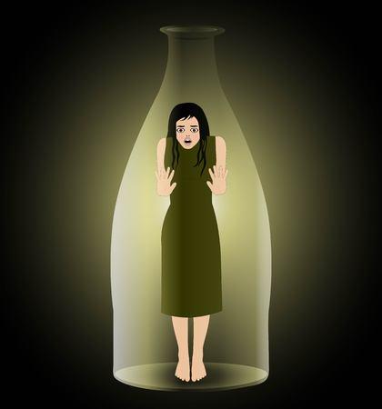 symbolische vectorillustratie van gevangen genomen vrouw in een fles
