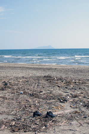 degradation and abandonment on a beach in the province of latina, Italy
