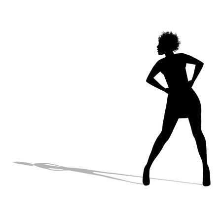 silhouette of woman in miniskirt on white background