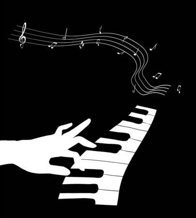 Hand touching the keyboard of a piano vector illustration.