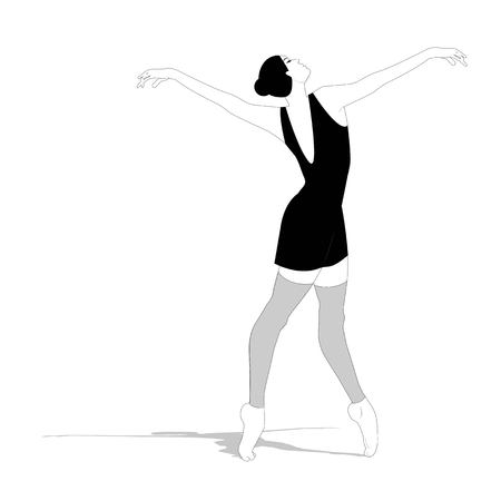 Ballerina silhouette on a white background Ilustracja