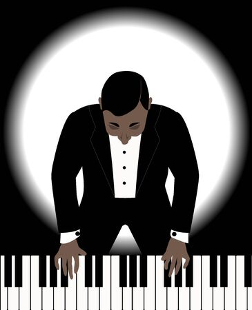 man in a black jacket playing on a piano Ilustracja