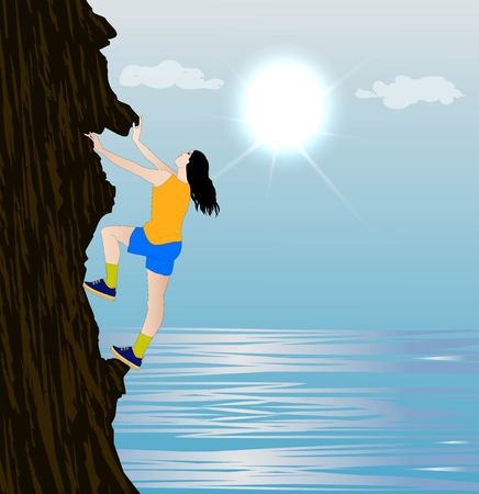 Vector illustration of girl climbing on mountain Ilustrace