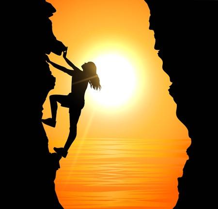 Vector illustration of girl climbing on mountain