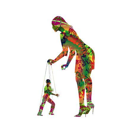 Symbolic illustration of a woman manipulating a man like a puppet