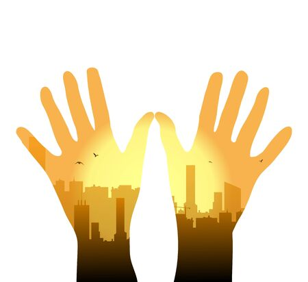 Vector illustration of urban metropolis on the palm of hands