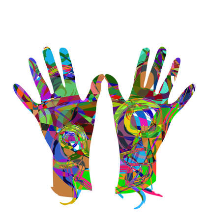 Abstract hands with different colors on white background