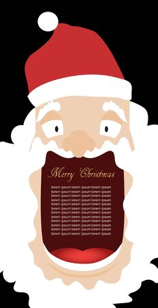 Vector illustration of Santa Claus with a big mouth for the text