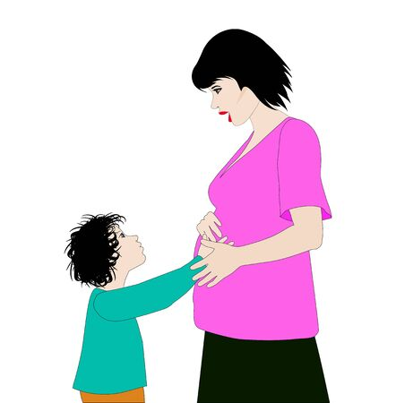 vector illustration, pregnant woman with son touching her belly Ilustracja