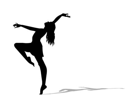 Ballerina silhouette on a white background vector Ilustracja