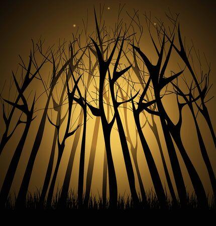 Een vectorillustratie van magisch bos op kleurrijke presentatie. Stock Illustratie