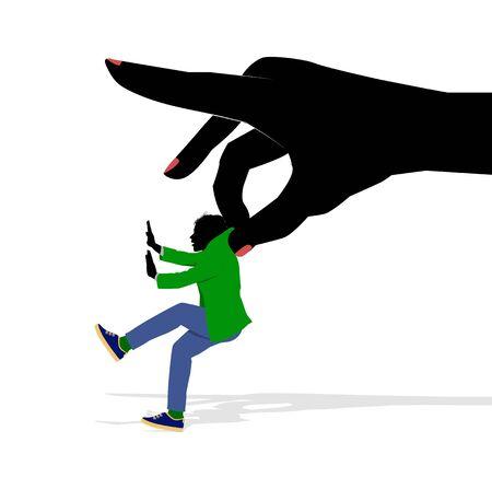 Eine symbolische Illustration einer weiblichen Hand , die einen Mann anhebt Standard-Bild - 93124720