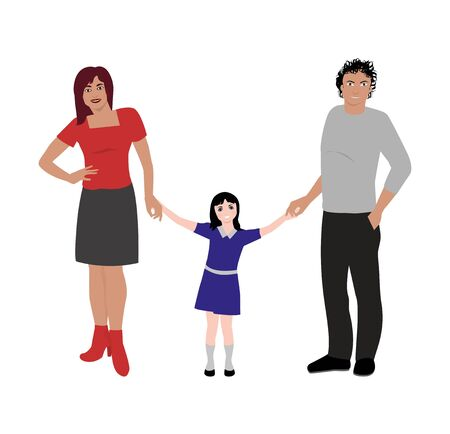 vector illustration of happy family portrait